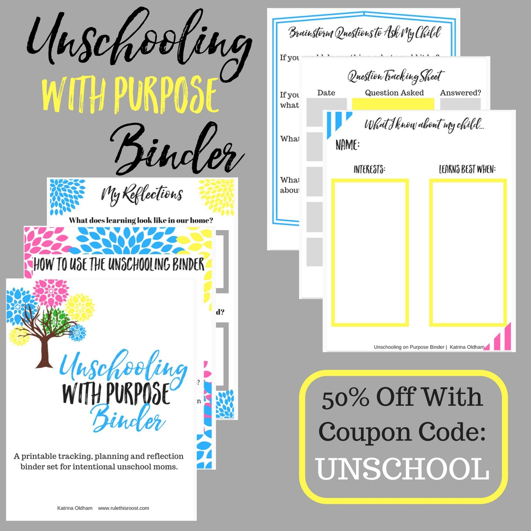 Unschooling With Purpose Binder Set is an unschool planner that keeps you organized and intentional. Unschooling does not have to be unorganized.