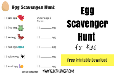 Egg:  Nature's Perfect Package Scavenger Hunt Activity for Kids