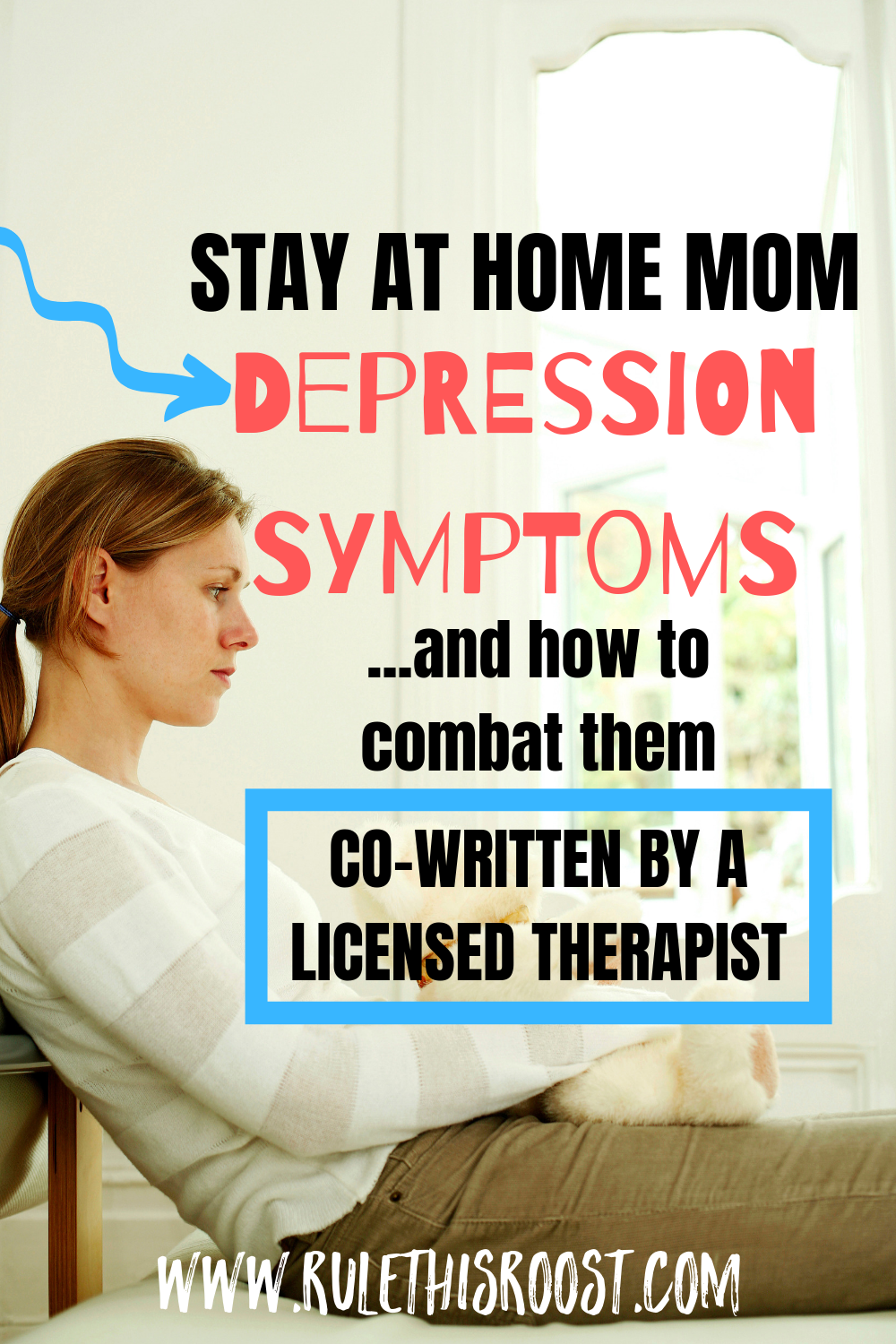 Stay At Home Mom Depression Symptoms and How to Combat Them.  You are not alone in your battle with depression.  It is real and it is debilitating.   Read on for more information, including tips from a licensed therapist.  #momdepression #sahmdepression #depression #depressionsymptoms #beatdepression