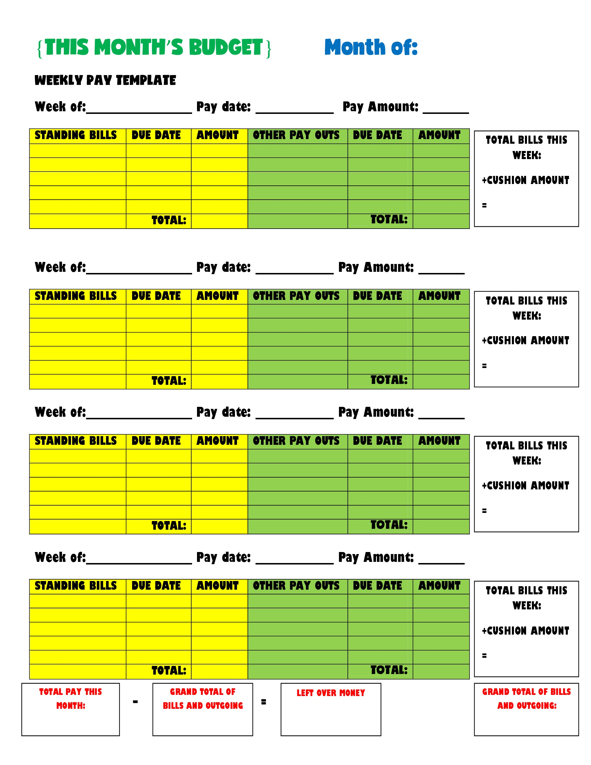 Weekly pay budget template jpeg