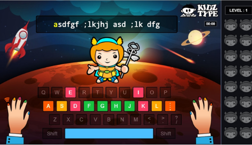 screenshot kidztype free typing games for kids